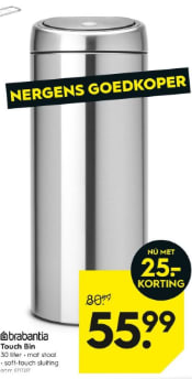 Aanbieding Brabantia Touch Bin 30 Ltr.Brabantia Touch Bin Flat Top 30 Liter Matt Steel Voor 55 99