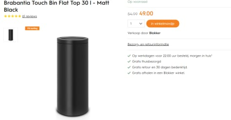 Touch Bin Blokker.Brabantia Touch Bin 30 Liter Matt Black Voor 49