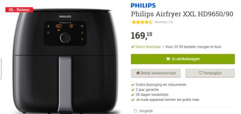 Philips Avance Airfryer Xxl Hd965090 Hetelucht Friteuse Zwart