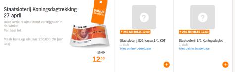 Staatsloterij Koningsdaglot Voor 1250 250 Airmiles