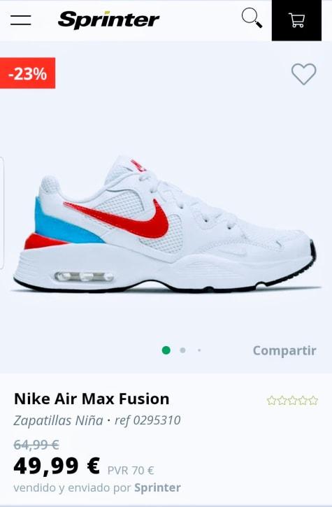 air max fusion niña