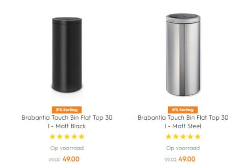 Brabantia Touch Bin 30 Liter Flat Top.Brabantia Touch Bin Flat Top 30 L Voor 49