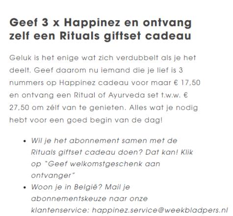 3x Happinez Met Rituals Ayurveda Pakket Twv 2750 Voor