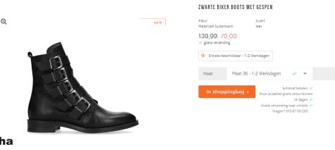 Zwarte biker boots met gespen voor €70