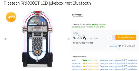 Ricatech Jukebox Rr1000 Led voor €359
