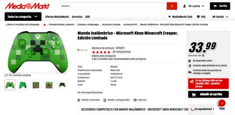 94dba3c5d9781 Mando inalámbrico para consola Xbox One Edición limitada diseño Minecraft  Creeper rebajado por solo 33