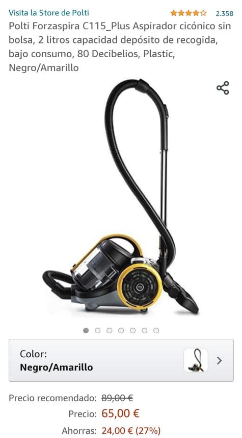 80 Decibelios Negro//Amarillo bajo consumo Polti Forzaspira C115/_Plus Aspirador cic/ónico sin bolsa Plastic 2 litros capacidad dep/ósito de recogida