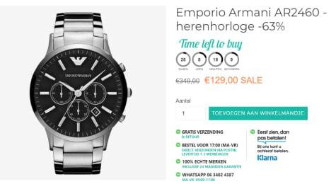 7ab8038e418 Koop bij watch discounter dit Emporio Armani AR2460 - Horloge - Staal -  Zilverkleurig - Ø 46 mm voor €129