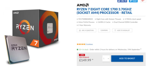 Ryzen 7 1700, 3,0 GHz (3,7 GHz Turbo Boost) voor €188,50