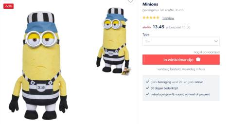 Minions gevangenis Tim knuffel 36 cm voor €13,45
