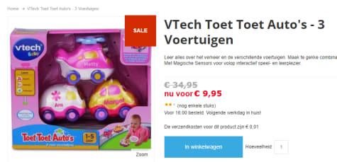Ongebruikt Toet toet auto 3 roze autootjes Vtech: 12+ mnd voor €9,95 BD-47