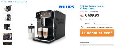 77242a104be4 Loop alleen vandaag bij Ibood deze Philips Saeco Xelsis Volautomaat SM7680  00 zwart voor maar €699