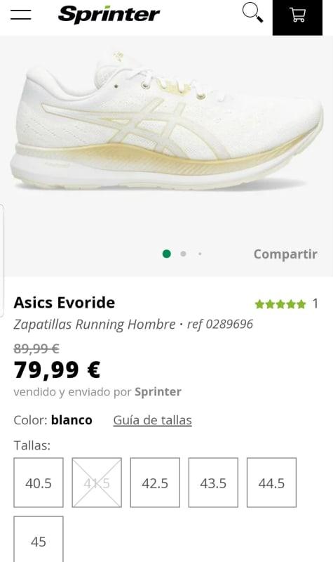 ASICS Evoride. Zapatillas de Running para hombre por 79,99€.