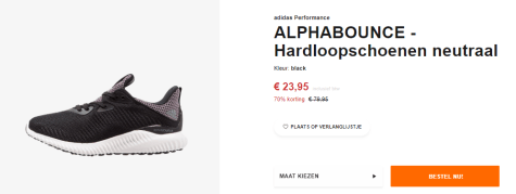 super populaire f947a 336e5 Adidas Alphabounce sneakers zwart voor €23,95
