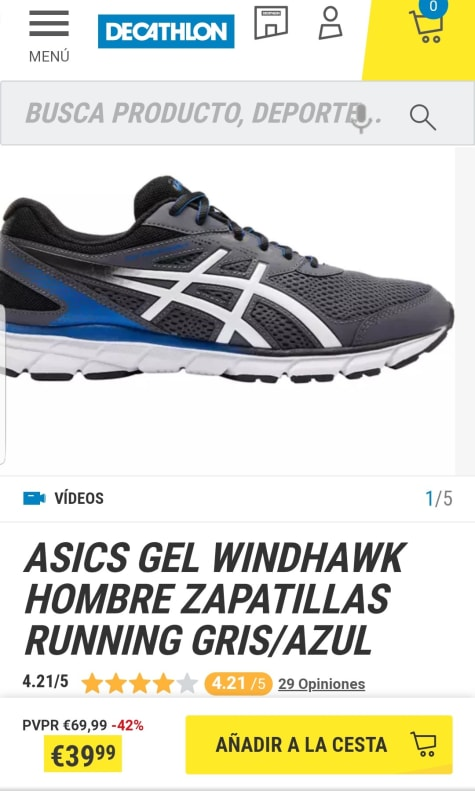 ASIC Gel Windhawk Zapatillas Running Hombre por 39,99€.