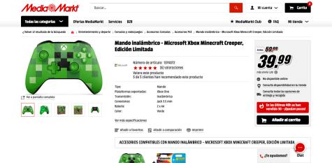 1f69c03fad5a7 Mando inalámbrico para consola Xbox One Edición limitada diseño Minecraft  Creeper por solo 39