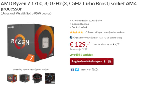 Ryzen 7 1700, 3,0 GHz (3,7 GHz Turbo Boost) voor €129