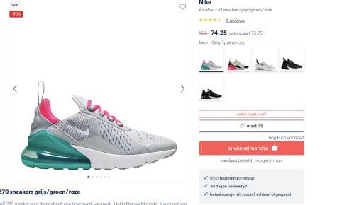 Air Max 270 sneakers voor €74,25