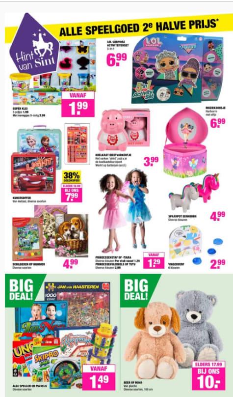 Al het speelgoed 2e voor de halve prijs bij Big Bazar