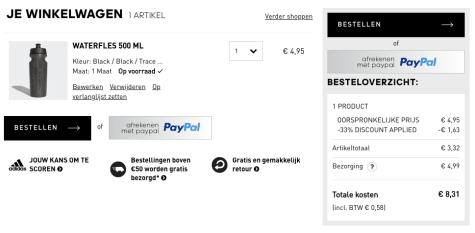 33% extra korting op de outlet met de Adidas kortingscode
