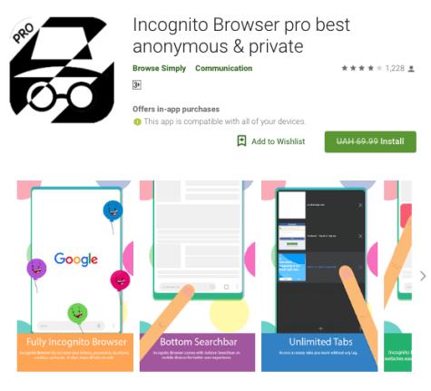 App navegación incógnita Android Incognito Browser pro sin costo en