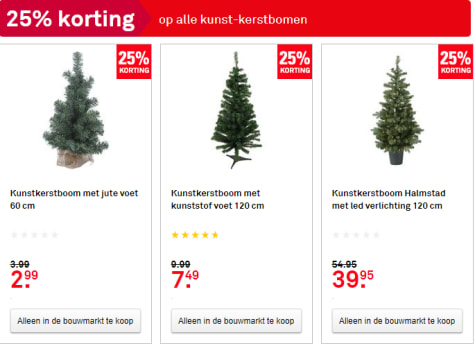 25% korting op alle kunstkerstbomen bij Karwei
