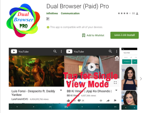 App Navegación dual Internet Dual Browser Pro sin costo para Android