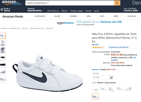 Jardines católico ensillar  Zapatillas Nike Niños a 21€ en Amazon