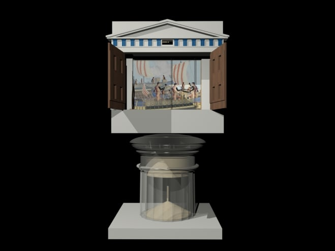 Automaton theatre designed by Hero of Alexandria, presenting <em>The Legend of Nauplios</em>: computer model by Richard Beacham and Janis Atelbauers
