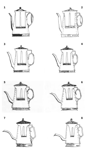 A drawing of a coffee pot is copied seven times. Look at the spout