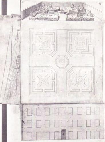 Diagram by Salomon de Caus of the construction of a <em>trompe l'oeil</em> painting of a garden, from <em>La Perspective</em>, 1612