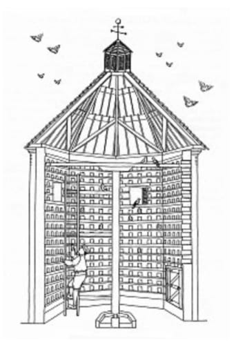 <em>Interior of an octagonal dovecote. Image: Pigeon Control Resource Centre, Newton Abbot</em>
