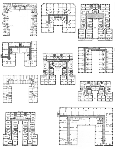 19th and early 20th century American buildings with U-shaped plans, from Steven Holl, <em>The Alphabetical City</em>