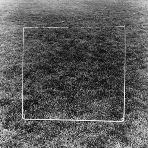 Art work by Jan Dibbets, made in the late 1960s: a trapezium laid out in tape on a lawn appears as a square from the viewpoint of the photo. Image from: http://socks-studio.com/2016/04/25/perspective-corrections-by-jan-dibbets-1967-1969/