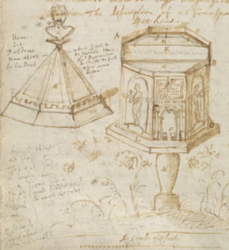 John Evelyn's design of octagonal beehive, from <em>Elysium Britannicum</em>