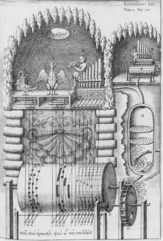 Design for two linked water organs with automata, by Athanasius Kircher. The smaller instrument is played by Echo