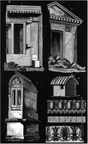 Rock-cut tombs in Asia Minor, echoing timber construction: from H Colley March, 'The Meaning of Ornament'