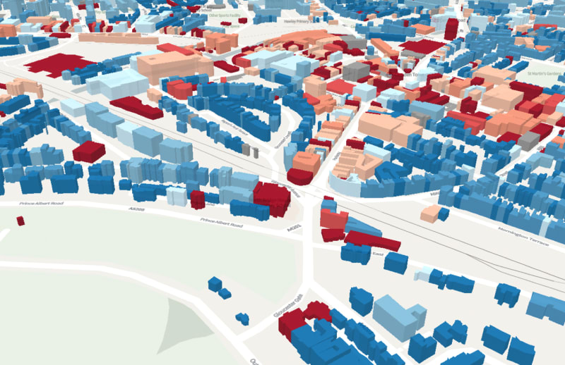 A 3DStock model of part of the London Borough of Camden. The buildings shown in shades of red and pink contain non-domestic activities. The buildings in blue are houses and blocks of flats.
