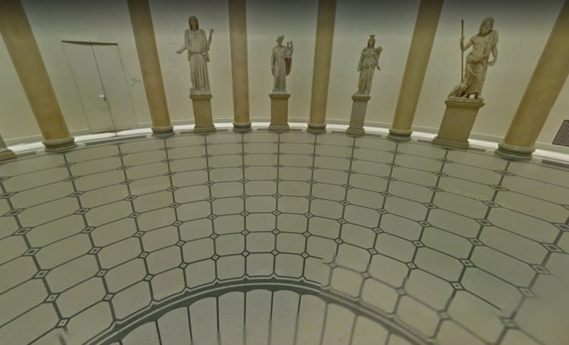 What the visitor to the Altes Museum sees, standing on the black circle at the centre of the rotunda. Image from Google Street View
