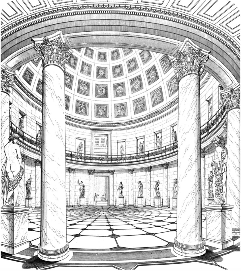 Drawing by Schinkel of the circular domed hall of the Altes Museum in Berlin, with its pattern of floor tiles.