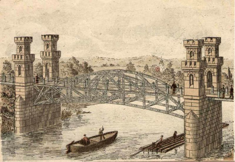 A bridge built from Anker blocks and metal pieces; from George F Hardy, <em>Richters Anker-Steinbaukasten</em> p.42