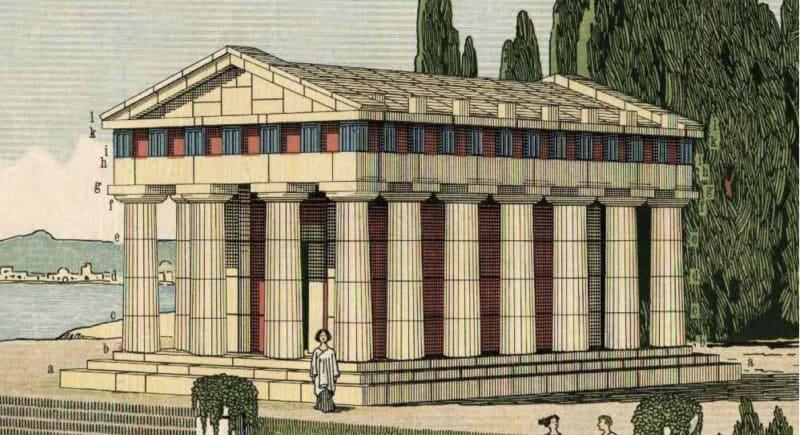A Greek temple built from Anker blocks; from George F Hardy, <em>Richters Anker-Steinbaukasten</em> p.101