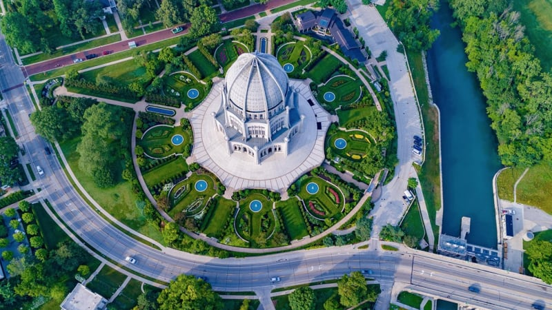 Baha'i Temple, Wilmette, Illinois: photo from US Baha'i National Center