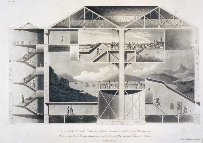 Cross-section of Robert Barker's panorama building in Leicester Square, London. Two large cylindrical paintings are viewed from the central platforms.