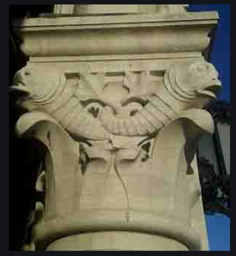 A capital with fishes in the Rialto Fish Market, Venice: photo by Philip Tabor