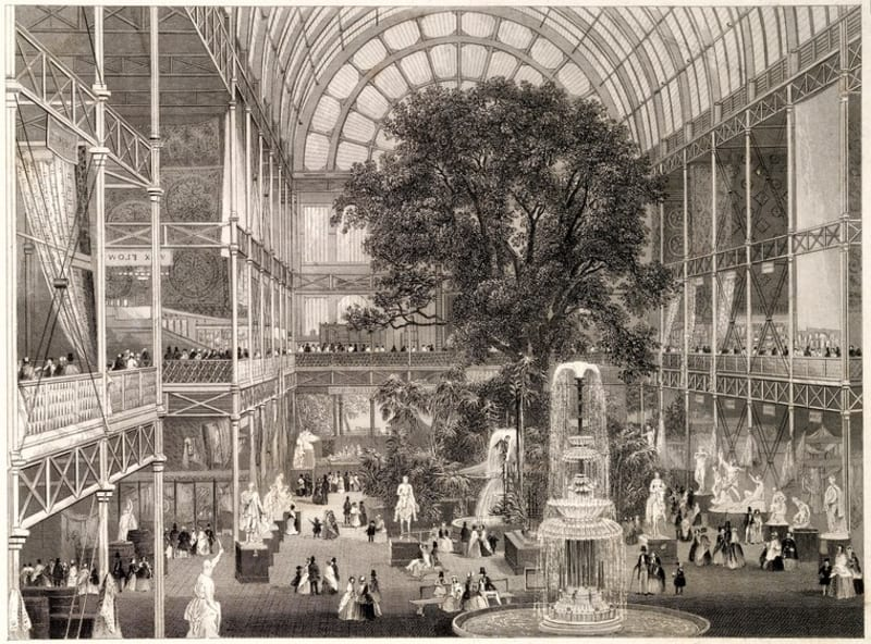 The transept of the Crystal Palace in 1851. Engraving by W Lacey after J E Mayall: Wellcome Collection