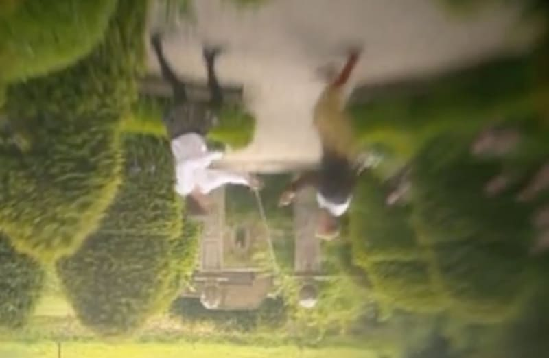 Swordsmen fighting in a 'camera obscura theatre' show. The camera has a simple single lens, and so the image is upside down.
