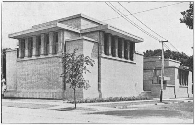 Frank Lloyd Wright, Unity Temple, Oak Park Illinois 1908. Photo from Wikimedia Commons
