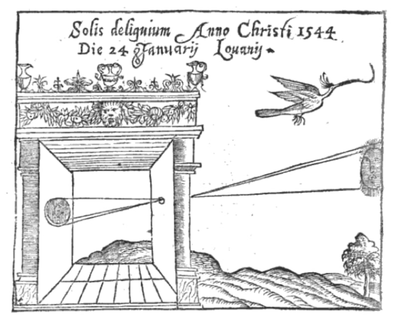 Camera obscura used by the mathematician Gemma Frisius to observe an eclipse of the sun in 1544