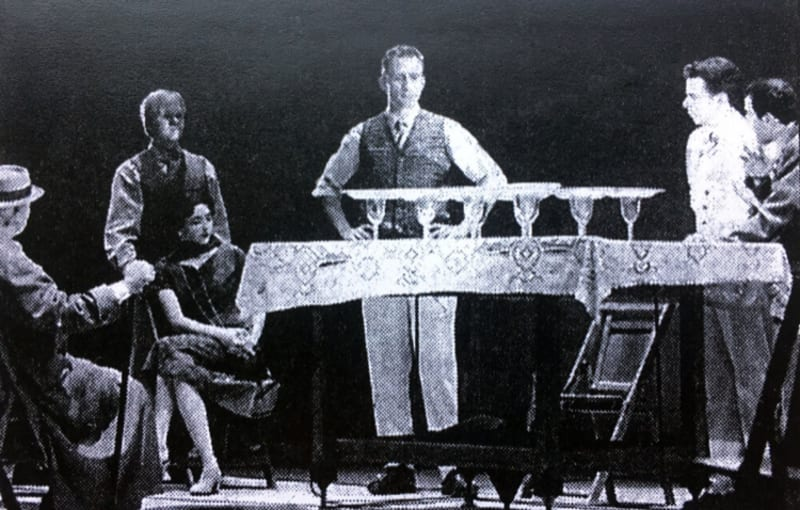Wright's apprentices improvise a model of the Great Workroom, in Robert Lepage's play <em>The Geometry of Miracles</em>: photo from teealagic.com